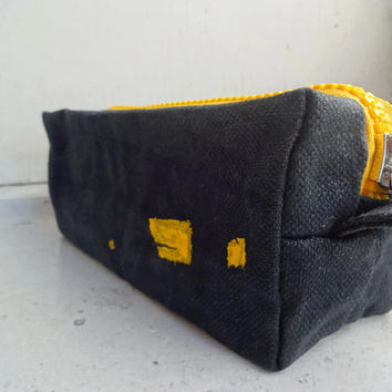Black Yellow Boxy Bag, OOAK Waxed Canvas, Simple