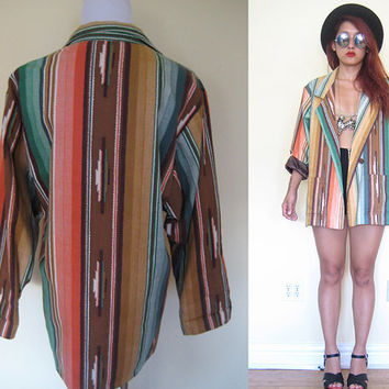 Vintage yellow green  brown tribal ethnic native southwestern aztec print blazer hippie boho bohemian