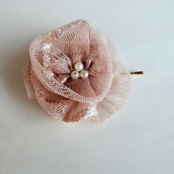 Dusty Pink  Flowers Hair Bridal Bobby Pin
