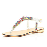 River Island Womens White gemstone embellished T bar sandals