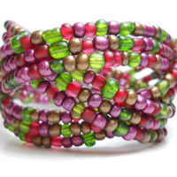 Braided Bracelet Cranberry and Green Braided Cuff Bracelet Beaded Cuff