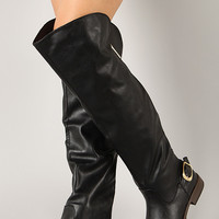Zipper Buckle Thigh High Boot