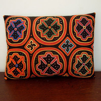 Antique Mola Pillow Hand Made Applique Geometric