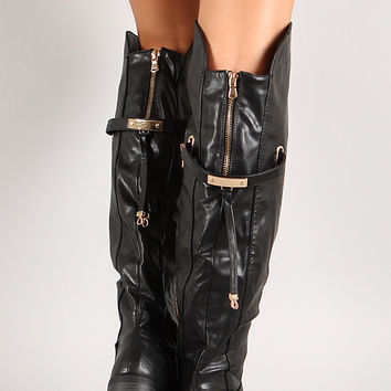Metallic Plate Round Toe Knee High Boot