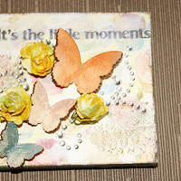 Butterfly Flower Heart Canvas Picture Frame Wall Hanging
