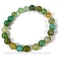 Aqua Fired Agate Gemstone Sterling Silver Stretch Elastic Bracelet