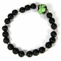 Sterling Silver Stretch Bracelet Handmade Glass Bead Black Lava Stones