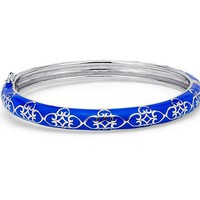 Narrow Blue Enamel Bangle Bracelet in Sterling Silver