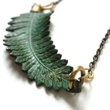 Necklace, Fern, Verdigris, Green, Nature