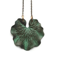 Necklace, Green, Forest, Verdigris, Large, Leaf, Leave