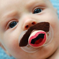 Cop Stache- Hand Cut Custom Mustache Pacifier- Brown