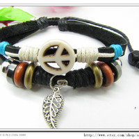White  Anti-war peace peaceful  Adjustable Couple bracelets Cuff made of Brown Leather Ropes and Color Wooden Beads  607S
