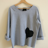 Small Grey Sweatshirt with Black Lace Heart and Bow - Slouchy and Comfy