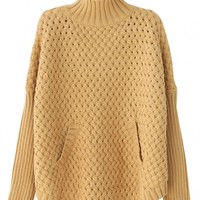 Solid Braided Pattern Knit Sweater - OASAP.com