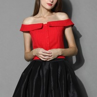 Bright Red Textured Off-shoulder Top