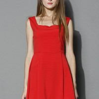 Scrolled Trim Open-back Flare Dress in Red