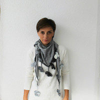 Black Knitted Fabric Scarf with Crochet Grey Flowers