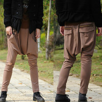 Khaki pants hanging crotch / low crotch / exposed knee