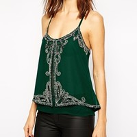 Lipsy Embellished Cross Back Cami Top at asos.com