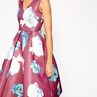 ASOS Premium Midi Dress in Bonded with Large Floral
