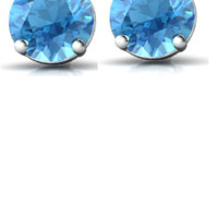 SALE!! Blue Topaz Earrings Gold 14k  Stud 6mm Round 1.9 -2.1 Cttw Natural Genuine +  Certificate