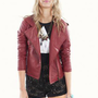 Brick Red Long Sleeve Zip Up Motorcycle Jacket