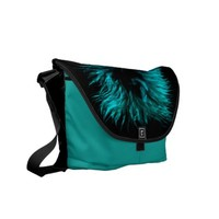 Feather in turquoise bag