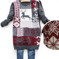 Deer & Snow Flake Print Long Jumper