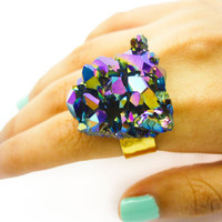ON SALE - Titanium Quartz Rainbow Druzy Ring Aura Crystal Stone Cluster