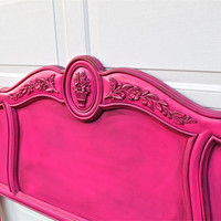 Magenta Vintage Headboard / Queen Bed /Shabby Chic /Distressed /Flower, Leaf Design