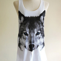 Wolf T-Shirt Fox Blue Eyes Face Animal -- Animal T-Shirt White T-Shirt Women T-Shirt Animal Tank Top Tunic Wolf  T-Shirt Size S, M