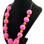 Statement Necklace: &quot;April&quot; Pink &amp; Orange Beaded Necklace