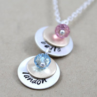 Personalized necklace, Handstamped necklace, Custom jewerly for Mom or for Grandma, 2 hanging sterling silver discs with birthstones
