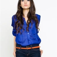 cobalt blue Blouse- Button Blouses- Blouses