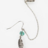 Stone Feather Cuff Earring