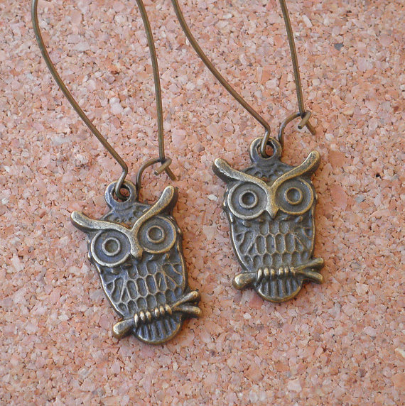 Earrings Antique Brass Owl Charms with Brass by ImpossibleAlice