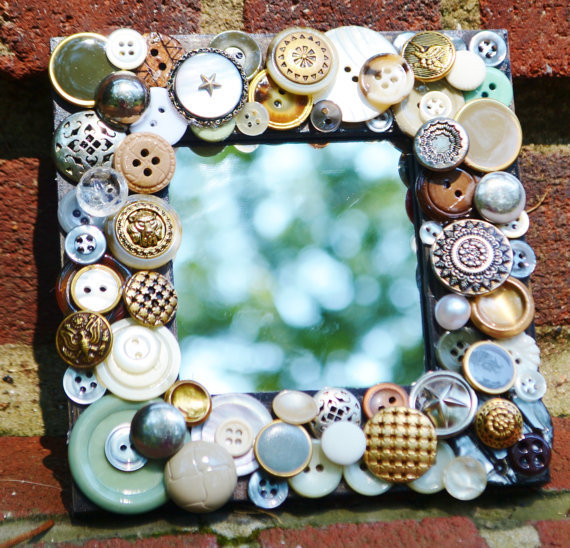 handmade recycled button mosaic mirror, vintage button art mirror