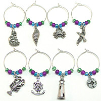 Nautical Wine Charms- 8 Beach Wine Glass Tags, Blue Green Purple Glass Beads, Nautical Charms- Lobster, Crab, Compass, Lighthouse, Ship