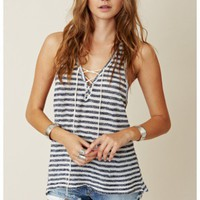 Blue Life - Tank With Lace Up Front