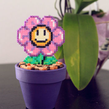 Super Mario Inspired Tiny Purple Smiling Daisy. Kawaii, Cute & Colorful Flower.