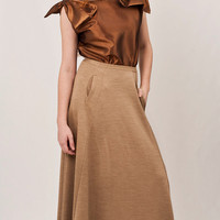 Beige maxi skirt, camel flowing skirt, two side slit pockets, neutral high quality wool, must-have look /// Ready to ship ///