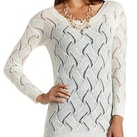 Fuzzy Open Knit Tunic Sweater by Charlotte Russe
