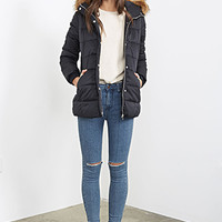 FOREVER 21 Faux-Fur Trimmed Puffer Parka Navy