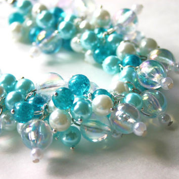 Super Funky & Chunky! Turquoise and Tiffany Blue Statement Cluster Necklace