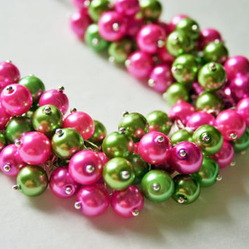 Green & Pink Cluster Necklace - Lilly Pulitzer Inspired - AKA Sorority Colors