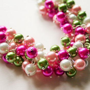 Lilly Pulitzer Inspired - Green & Pink Pearl Cluster Necklace