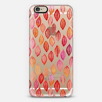 Watercolor Leaf Pattern in Autumn Colors on Crystal Transparent iPhone 6 case by Micklyn Le Feuvre | Casetify