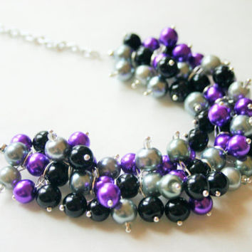 Black, Gray, and Purple Pearl Cluster Necklace - Wedding or Gameday Jewelry