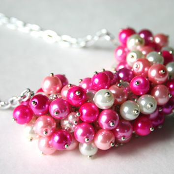 Handmade Pink Ombre Cluster Pearl Necklace / 26 inches / Silver Chain / Bridesmaid & Wedding Bridal Jewelry