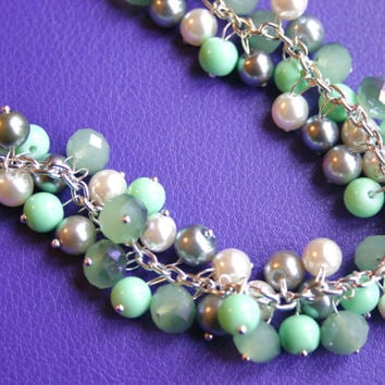 Mint Green + Gray Cluster Necklace / Womens Jewelry / Full Cluster